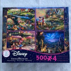 Disney Thomas Kinkade 500 Pieces X 4 Puzzles